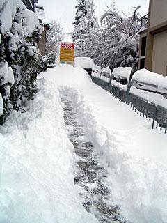 玄関前を雪かきした