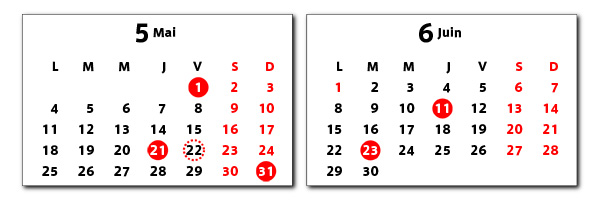 スイスジュラ州のカレンダー2009年5月6月